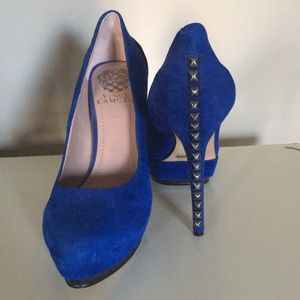 Blue suede shoes with studds